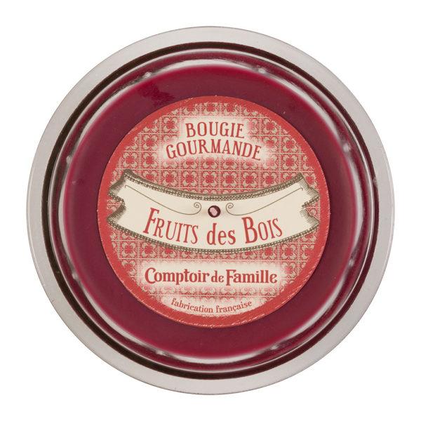 bougie gourmande couleur prune parfum fruit des bois