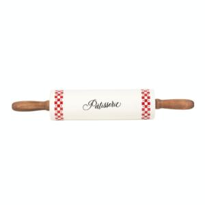 Rouleau Pâtisserie Blandine Rouge En Dolomite, Bois - Comptoir de Famille
