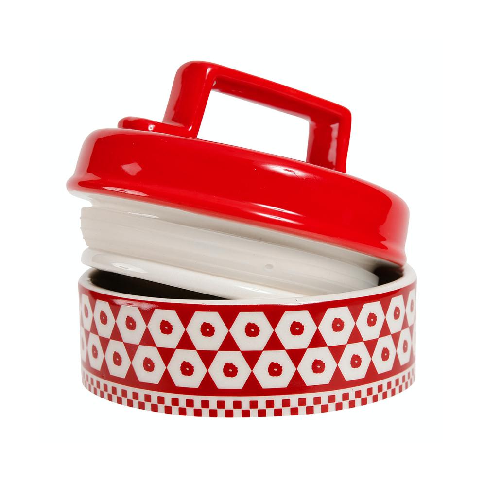 """Pot Avec Couvercle Carreau Rouge En Dolomite """"Cuisine Maison"""" - Comptoir de Famille - Cocoon Bis"""