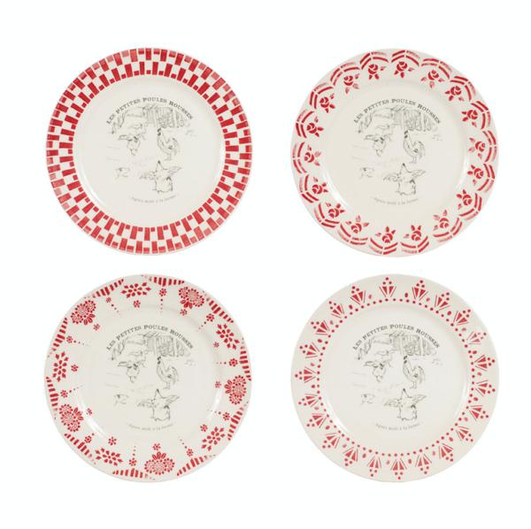 Coffret De 4 Assiettes à Dessert Galline Rouge - Comptoir de Famille