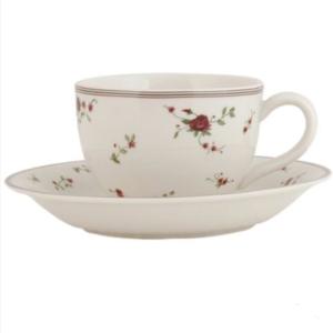 Tasse et sous tasse en céramique collection rose claiyre en eef
