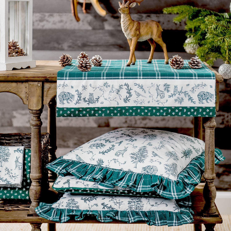thème foret sauvage vert textile de table