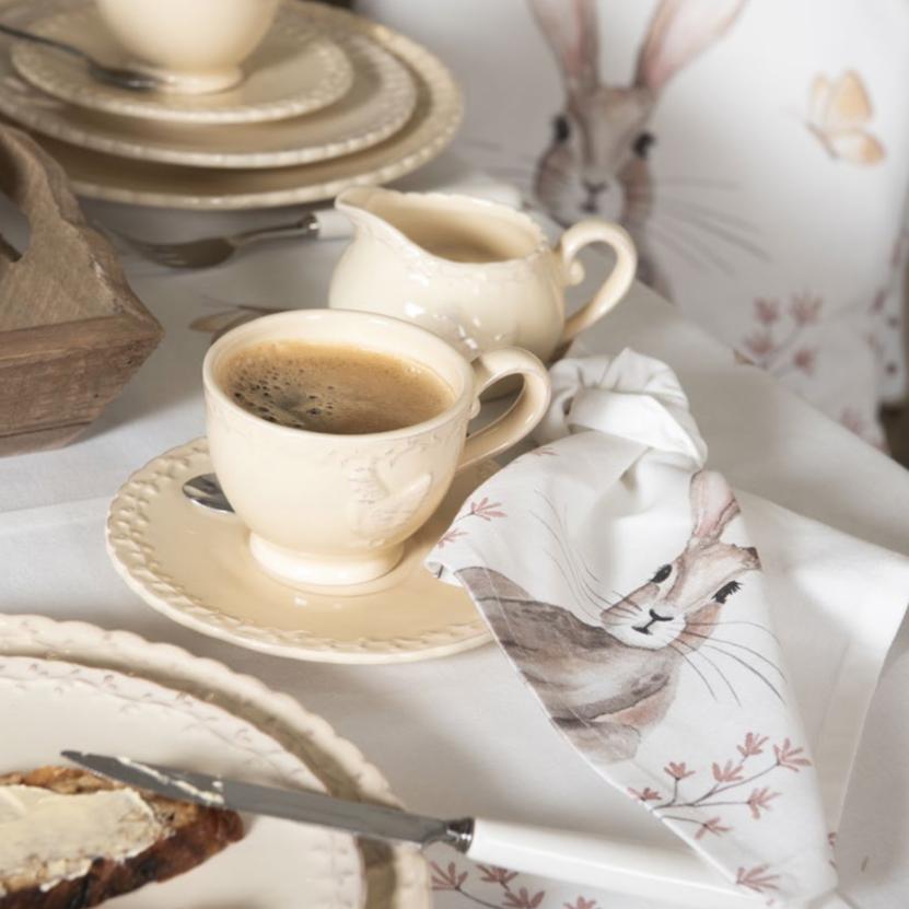 linge de table pâques rustique lapin