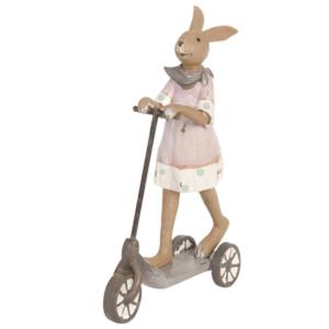 statue en résine lapin pâques trottinette