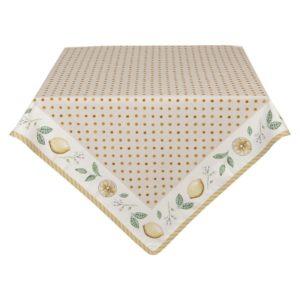 nappe beige petit pois et citrons pour l'été 150x250 cm