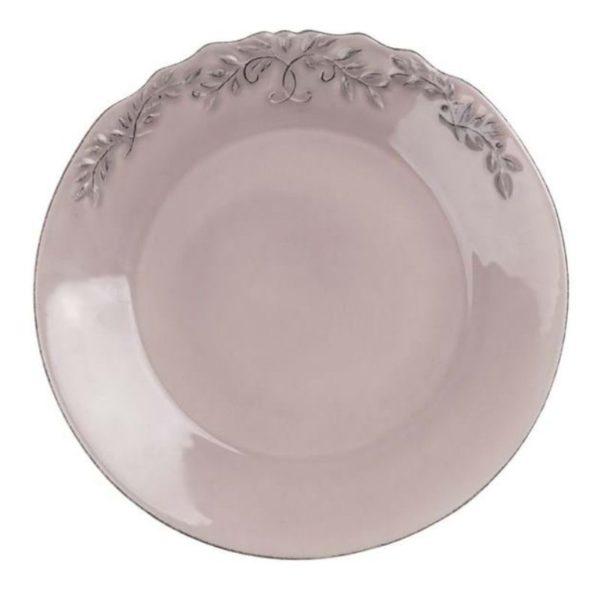assiette platte à dîner vieux rose style romantique