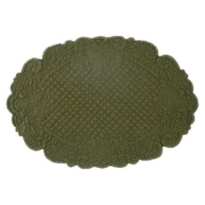 set de table ovale en boutis épais vert