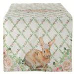 chemin de table romance de pâques lapin et fleurs roses