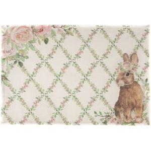 set de table écru rose et vert pour pâques avec motif fleurs et lapin