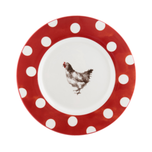 vaisselle pâques rouge pois blanc