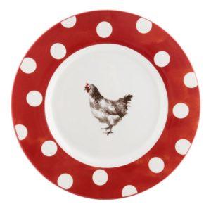 assiette à dîner pâques rouge et blanc à pois