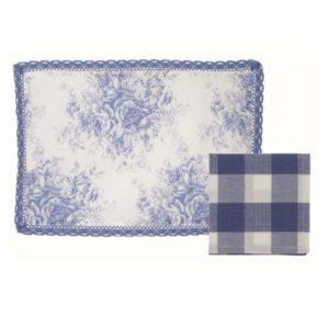 set de table en toile de jouy bleu et blanc avec serviette assortie en vichy bleu et blanc