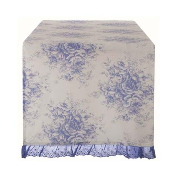 chemin de table toile de jouy bleu