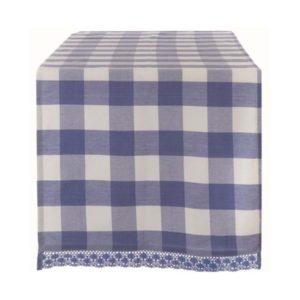 Set de table vichy bleu et blanc collection tournée blanc mariclo 45x140 cm