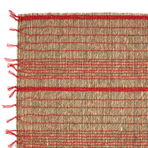 chemin de table raphia damier naturel et rouge comptoir de famille linge de table