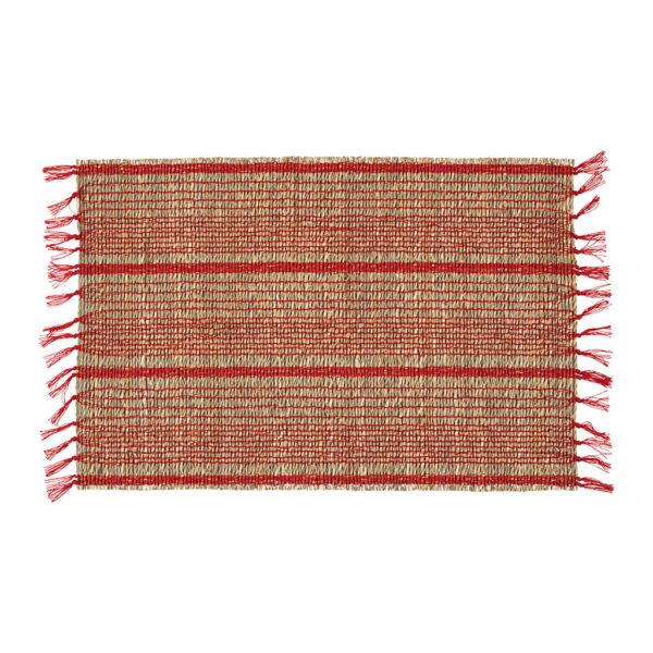 set de table damier couleur naturel et rouge en jonc de mer comptoir de famille
