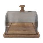 plat carré avec cloche en verre comptoir de famille