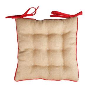 galette de chaise lin coton et jutte beige et rouge comptoir de famille