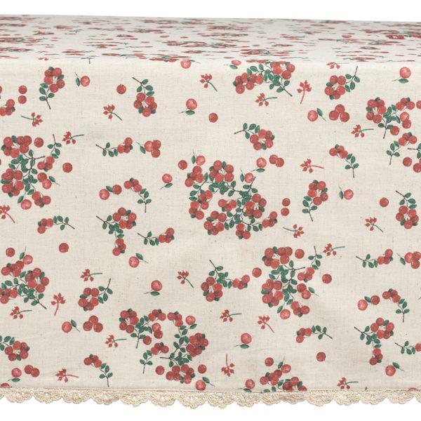 nappe 150x250 collection groseille comptoir de famille beige et rouge