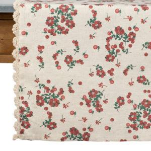 chemin de table en coton et en lin groseille beige et rouge