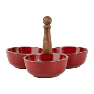 plat à apéro 3 compartiments collection suzanne comptoir de famille rouge