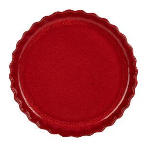 plat à tarte en grès rouge 31cm de diamètre