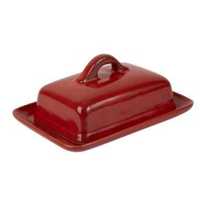 Beurrier rouge en grès qui se lave au lave vaisselle comptoir de famille