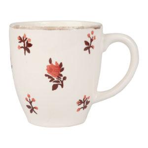 mug en faïence beige et rouge belle saison 50 cl comptoir de famille