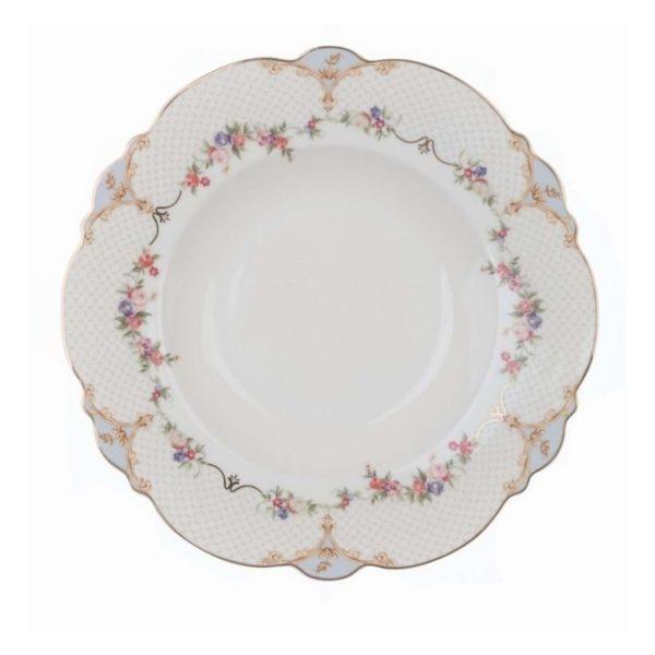 Assiette creuse en porcelaine bleue et blanche festonnée 23 cm de diamètre style shabby chic blanc mariclo