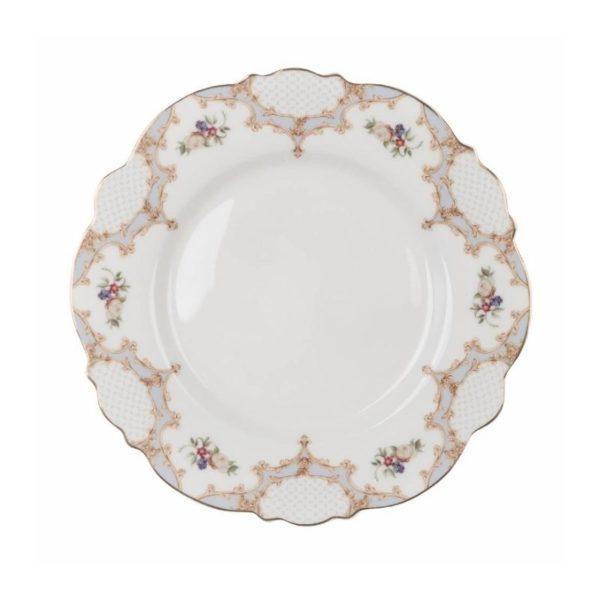 Assiette à dessert en porcelaine bleue et blanche festonnée