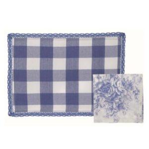 ensemble set de table vichy bleu et blanc avec serviette en tissus toile de jouy