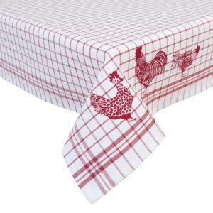 nappe vichy blanc et rouge avec poule