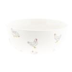 bol en céramique blanc avec poules