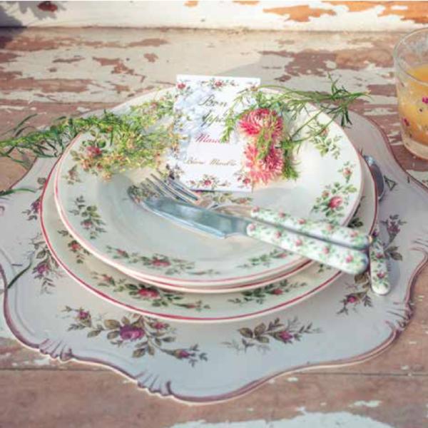 service de table artisanal fleur de printemps