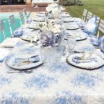 blanc mariclo collection tournée vichy bleu et toile de jouy bleue et blanche