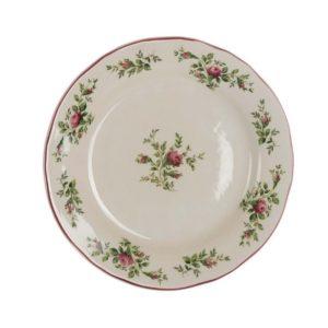 assiette à dessert artisanale avec dessins de rose