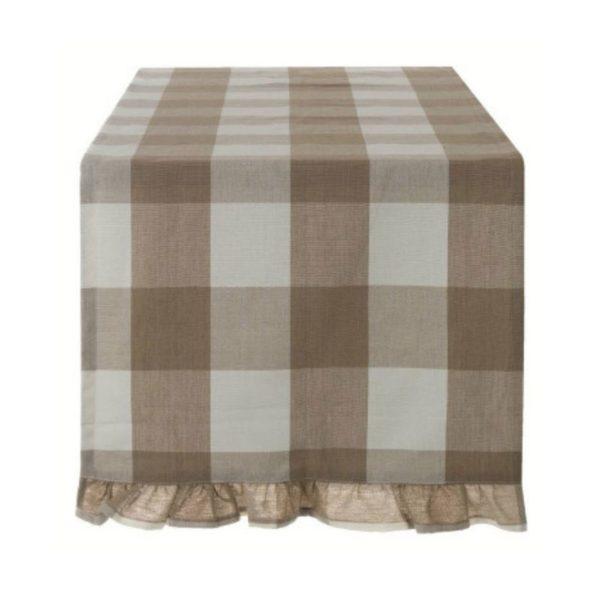 chemin de table 45x140 cm à carreaux beige style campagne chic