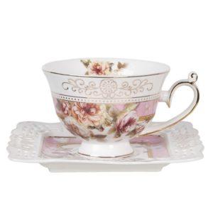 tasse et sous tasse romantique couleur lilas rose shabby chic