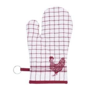 gant de cuisine en coton vichy rouge et poule