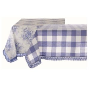 nappe vichy bleu et blanc et toile de jouy collection tournée blanc mariclo