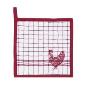 manique en coton vichy rouge avec dessin poule