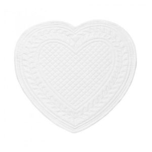set de table en boutis blanc en forme de coeur 100% coton de la marque comptoir de famille