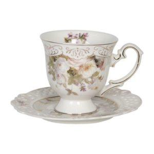 tasse à café ou à thé shabby chic romantique en porcelaine