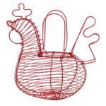panier poule en fer forgé rouge comptoir de Famille