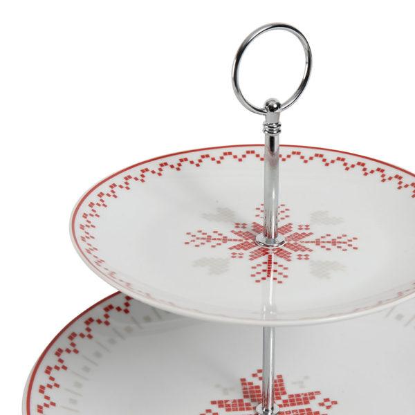 plateau de présentation de noël en porcelaine blanche et rouge