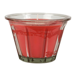 bougie rouge senteur coquelicot en verre comptoir de famille