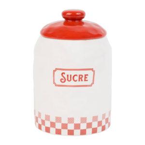pot à sucre blanc et rouge avec couvercle en dolomite