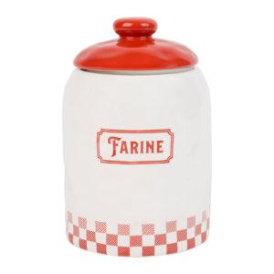 pot à farine blanc et rouge en dolomite avec couvercle