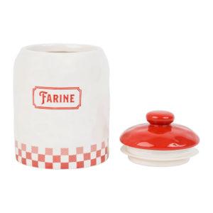pot à farine avec couvercle blanc et rouge chez Gaston comptoir de famille