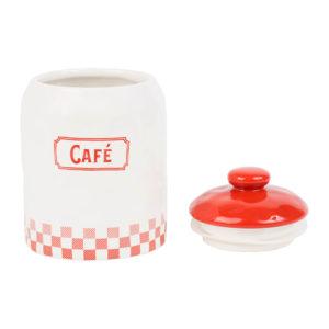 pot à café Blanc et rouge à couvercle comptoir de famille